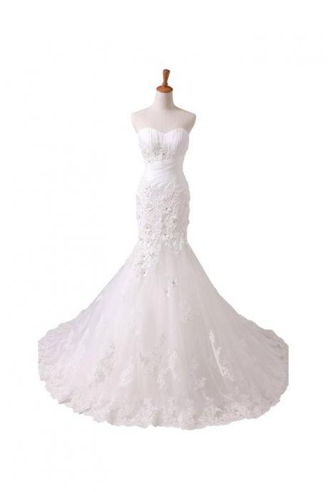 Sweetheart Mermaid Wedding Dresses,White and Ivory Wedding Dresses,Strapless Sleeveless Wedding Dresses,Wedding Gowns