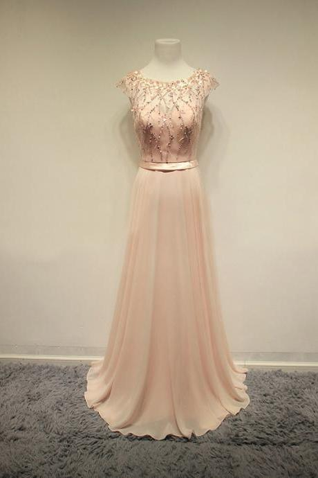 2016 Prom Dresses,Blush Pink Evening Gowns,Sexy Formal Dresses,Chiffon Prom Dresses kb20182334