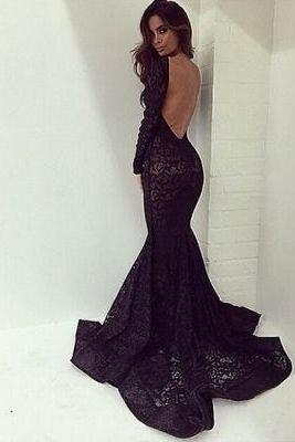Black Long Prom Dresses,sexy Lace Backless Prom Gown,mermaid Prom Dresses With Long Sleeves kb20182336