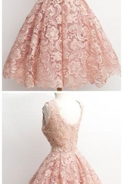 Homecoming Dresses,Lace Homecoming Gowns,Short Prom Gown,Blush Pink Sweet 16 Dress kb20182601