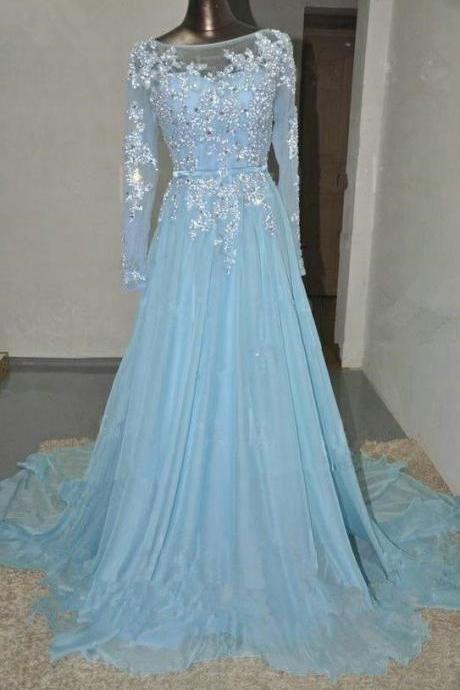 Light Sky Blue Prom Dresses,Beaded Prom Gowns,Beadding Prom Dresses 2018,Chiffon Party Dresses kb20184138