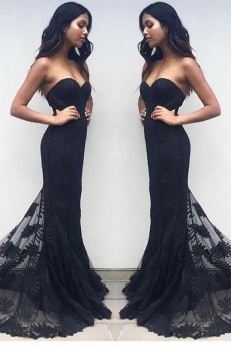 Mermaid Prom Dresses,Black Lace Prom Dress,Prom Dress,Modest Evening Gowns,Cheap Party Dresses kb20184471